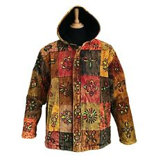 Hippy PATCHWORK GOLD Cotton Fleece Lined Jacket Painted Symbols Ohm Aum Buddha