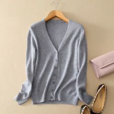 Womens Ladies Slim elastic Knitted Cardigan V-Neck Cashmere wool Jumper Sweater