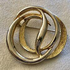 Celtic Circles Filigree Ornate Brooch Vgc Vintage Gold Tone Brooch Marked West