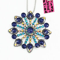 Women's Crystal Big Flower Pendant Chain Betsey Johnson Necklace/Brooch Pin