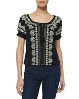 NWT New JOIE Women's XS Black & Ivory Embroidered DOLINA Cotton Top BLOUSE