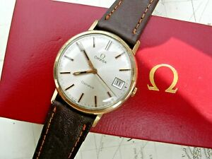 9K GOLD OMEGA GENEVE GENT'S & BOX FROM 1975.  SERVICED CAL. 1030, QUICK-SET DATE