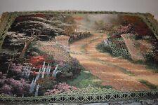 USA Made NWT Thomas Kinkade Bridge Of Faith Tapestry Throw Blanket Afghan #329