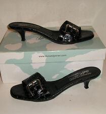 Donald J Pliner KELSI Women's Italian Black CrocPrint Leather Sandals Slides 8 N