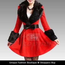 BLOWOUT SALE 50% off!! Slim DeepV Black Fur Collar Red Wool Overcoat  Jacket