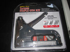 Tacker Staple Gun Kit Multipurpose 3-way Staple Gun Fires Standard Round & Brad