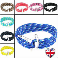 Anchor Hope Hook Bracelet Adjustable Leather Nautical String Men Women Gift UK
