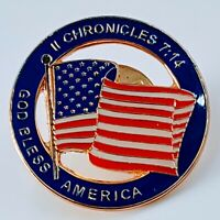 Vintage USA Flag Pin, II Chronicles 7:14. God bless America. Tom's Pin.