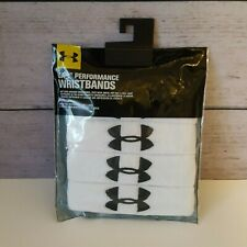 """UNDER ARMOUR UA 1"""" Performance Athletic Wristband 4-Pack White NEW"""