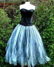 tutu skirt 20 22 long black white goth prom wedding quirky tulle floor length XL