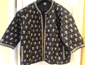 COTTON TRADERS BLACK ELEPHANT PRINT QUILTED JACKET - SIZE 26