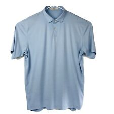 Peter Millar Featherweight Mens Golf Polo Shirt XL Blue Polyester Cosmetic 2nd