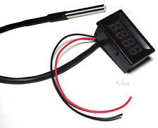 Red LED Digital Car Temperature Meter Thermometer -55-125°C DS18B20 Sensor F/C