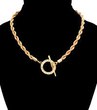 GOLD ROPE TOGGLE CHAIN Statement Necklace Hip Hop SHORT Metal Chain ~ 16""