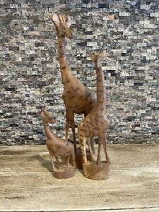 3 Piece Wooden Giraffe Set Carved Family