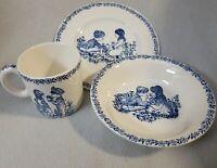 3 piece Vintage Alfred Meakin Childs China Set Blue Stamped England Boy Girl