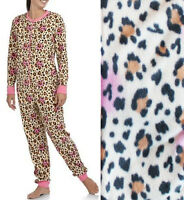 One Piece Leopard Fleece Pajamas Womens Animal Print Adult Union Suit S-XL