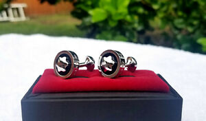 Montblanc Cufflinks Silver Black Mont Blanc Cuff Links Groom Wedding Gift Party