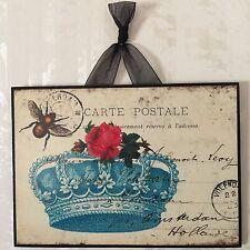 Vintage Paris France Crown w/ Bee & Roses Glitter Postcard Plaque