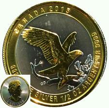 2015 1/2 oz Silver Canadian Bald Eagle Silver Coin 24k Gold Gilded