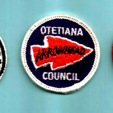 -Vintage OTETIANA COUNCIL- Round Mrgd. Arrowhead Dist. Mint 1960's Boy Scout NY