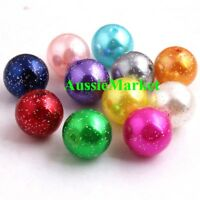 50 x loose glitter beads mixed colours imitation pearl girls craft necklace 10mm