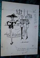 original VINTAGE DRAWING INK PENCIL PIN UP 60's erotic TITS AG BADERT SIGNED ART