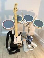 Nintendo Wii Rockband Game Official Harmonix Drum Kit Fender Guitar Dongle Mic