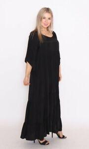 Cotton Village Tiered Summer Maxi Dress Black sizes S/M 10-16, M/L 16-20 NWT