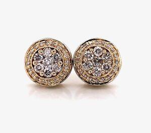 14k Solid Yellow Gold 0.80Ct Diamond Flower Cluster Stud Earrings 10.5 MM Unisex
