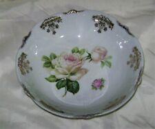 """CS Bavaria 9"""" Gold Trim White Pink Rose Bowl"""