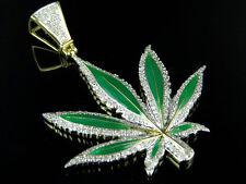 """10K Yellow Gold Enamel Coated Large Marijuana Leaf Diamond Pendant 2"""" 1.12Ct"""