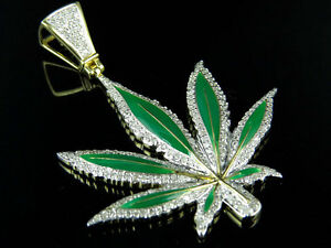 "10K Yellow Gold Enamel Coated Large Marijuana Leaf Diamond Pendant 2"" 1.12Ct"