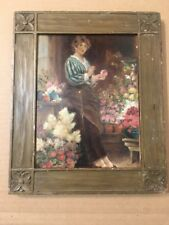 Beautiful Antique Portrait Painting Woman Flowers Cambridge Harvard Provenance