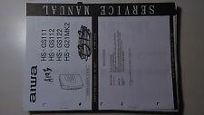 Aiwa hs-gs111 112 122 g21mk2 service manual original repair book walkman tape
