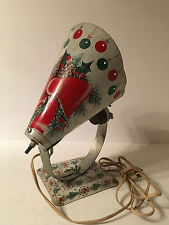 Vtg Aluminum Christmas Spotlight Bow Pine Tree Holly Ornament Stand MCM Atomic