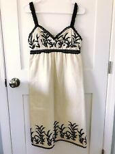 Anna Sui Women's Empire Waist Cream Dress with Black Lace Size 4