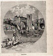 Stampa antica GALLIPOLI GELIBOLU veduta dal mare Turkey Turchia 1897 Old Print