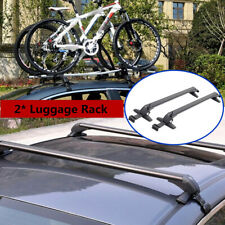 Black Car Roof Rail Luggage Rack Baggage Carrier Aluminum Trim w/Lock &Key 110cm