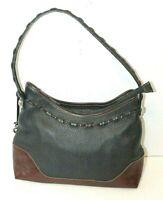 Brighton Womens Leather Shoulder Bag Black Brown Purse Handbag
