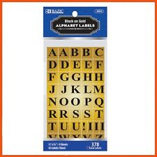 24 X Alphabet Labels Black on Gold 378 PK | Education Learning Letters Spelling