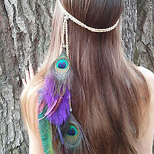 Indian Vintage Peacock Feather Leaf Hairdress Weave Headpieces Headband
