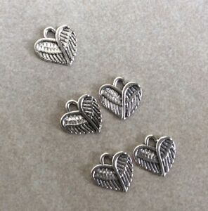 Antique Silver charms, Tiny Angel Wings, 5pcs, 13x13mm, Jewellery Making, Crafts