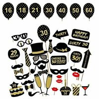 36PCS 30th Thirtieth Year Birthday Party Masks Favor Photo Booth Props