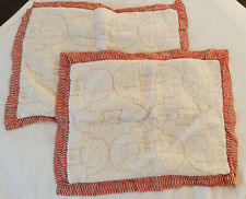 Anthropologie Haya Collection Standard Pillow Shams - Set Of Two - Orange/White