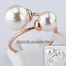 A1-R3140 Fashion Double Pearls Wrap Ring 18KGP Size 5.5-9