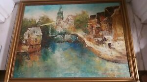 """Signed Framed painting by Edward Barton Oil on canvas 26.5"""" x 20.5"""""""