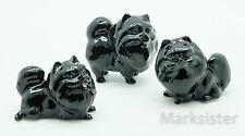 Figurine Animal Ceramic Statue 3 Black Pomeranian Dog - CDG027