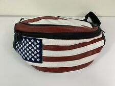 American Flag Fanny Pack Waist Wallet Bag Genuine Leather  Free Shipping