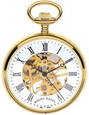 Skeleton Pocket Watch Gold Plated with Open Face and Roman Numerals - 17 Jewel